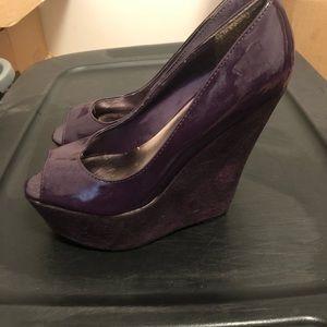 Purple wedge heels